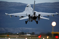 Lockheed Martin F-16 Fighting Falcon from Norwegian Air Force 338 squadron landing. BOLD AVENGER 2007 (BAR 07), a NATO  air exercise at Ørland Main Air Station, Norway. BAR 07 involved air forces from 13 NATO member nations: Belgium, Canada, the Czech Republic, France, Germany, Greece, Norway, Poland, Romania, Spain, Turkey, the United Kingdom and the United States of America. The exercise was designed to provide training for units in tactical air operations, involving over 100 aircraft, including combat, tanker and airborne early warning aircraft and about 1,450 personnel.