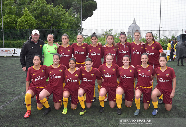 "Primavera women's team from Roma..The women's soccer team of Vatican City. 26 may 2019<br /> <br /> Women's football arrives at the Vatican, with what can be considered in all respects the women's national football team of the Holy See. The Vatican representative, announced in recent weeks, made its debut yesterday afternoon, Sunday 26 May, in the sports center of the Knights of Columbus, against the Roma women's team of Roma.<br /> The girls that make up the team are all Vatican employees or wife and daughters of staff of the Holy See, plus some players from the Bambino Gesù hospital team who joined for this 11-a-side football match. «We are born in an amateur way - he tells the attacker and captain of the Vatican Eugene Tcheugoue - and playing together represents for us above all a way to get to know and be together ».<br /> <br /> The young soccer player, a graduate in theology and a native of Cameroon, has no doubts about the great important symbolism of the team: ""Many of us are mothers even before they are employees or at least daughters and wives, so in the first place for us is the metaphor of football as a gym of life. Sport in general - says Eugene Tcheugoue - conveys a fundamental message, both for the new generations and in particular for women ""."