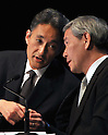 "May 1, 2011, Tokyo, Japan - Kazuo Hirai, left, of Sony Entertainment President, conferred with Sony Corp.'s Senior Vice President Shinji Hasejima during a news conference at its headquarter in Tokyo on Sunday, May 1, 2011. Hirai, along with two other executives, apologized for the breach in the company PlayStation Network that caused the loss of personal data of some 77 million accounts on the online service. Sony has said it has contacted U.S. Federal Bureau of Investigation to look into what the company called ""a criminal cyber attack"" on Sony's data center in San Diego, California. (Photo by Natsuki Sakai/AFLO) [3615] ?mis-"