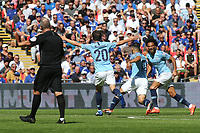 Sergio Aguero celebrates scoring Manchester City's first goal with Leroy Sane during Chelsea vs Manchester City, FA Community Shield Football at Wembley Stadium on 5th August 2018