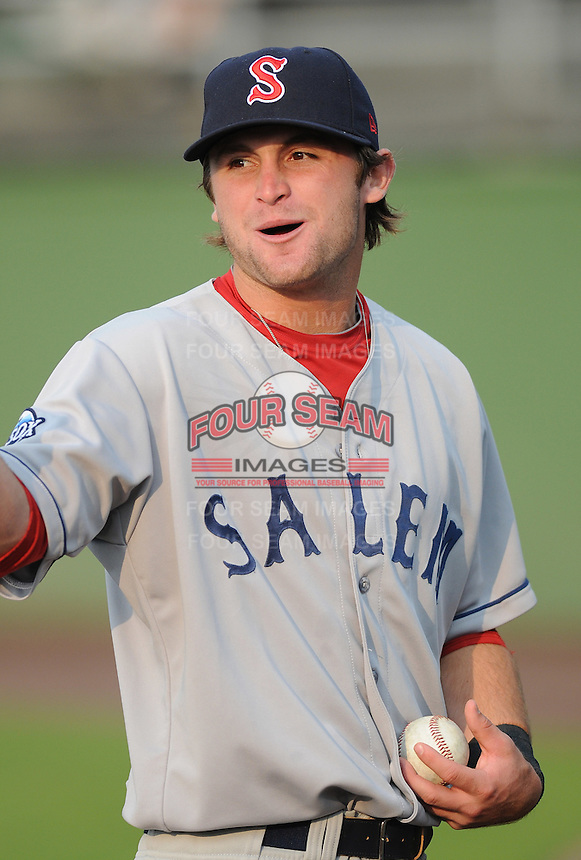 Infielder Drew Doninguez (22) of the Salem Red Sox, Carolina League affiliate of the Boston Red Sox, prior to a game against the Potomac Nationals on June 16, 2011, at Pfitzner Stadium in Woodbridge, Va. (Tom Priddy/Four Seam Images)
