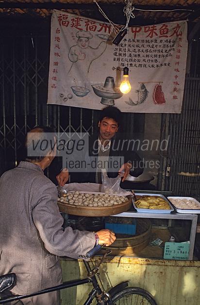 Asie/Chine/Jiangsu/Env Nankin: Marché libre de la rue Shan-Xi - Marchand de bouchées à la vapeur<br /> PHOTO D'ARCHIVES // ARCHIVAL IMAGES<br /> CHINE 1990
