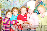 Sticky cakes: Kalin Foley, Doireann O'Mahoney and Lauren Brennan, from Listowel wtih Jeena Godley, Fenit and Niamh Stack, Ballybunion were taking a hands-on approach to cooking at the Listowel Food Fair children's cooking workshop at the Blue Umbrella Gallery on Saturday.     Copyright Kerry's Eye 2008