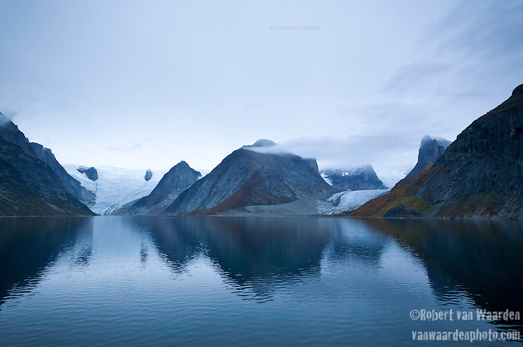 Glaciers and mountains of Tasermiut Fjord in Southern Greenland.