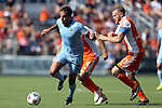 04 July 2015: Minnesota's Pablo Campos (BRA) (9) is chased by Carolina's Connor Tobin (13) and Neil Hlavaty (4). The Carolina RailHawks hosted Minnesota United FC at WakeMed Stadium in Cary, North Carolina in a North American Soccer League 2015 Fall Season match. Carolina won the game 3-1.