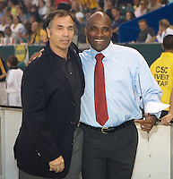 LA Galaxy new head coach and General Manager Bruce Arena and Chicago Fire head coach Denis Hamlett. The Chicago Fire defeated the LA Galaxy 1-0 at Home Depot Center stadium in Carson, California on Thursday, August 21, 2008.