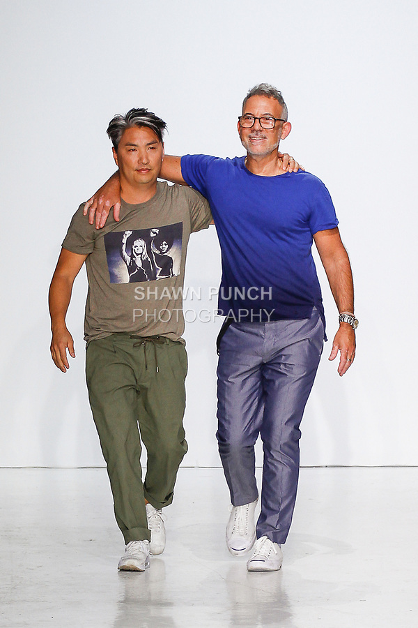 Fashion designers Parke Lutter and Ronen Jehezkel walk runway at the close of their Parke & Ronen Spring 2018 collection fashion show, at Skylight Clarkson Square on July 12, 2017; during New York Fashion Week: Men's Spring Summer 2018.