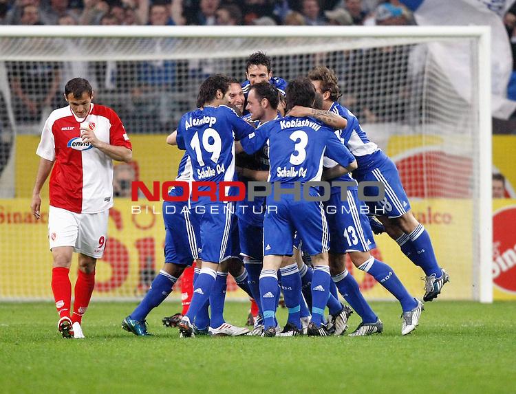 FBL  2008/2009  RŁckrunde 28. Spieltag <br /> Schalke 04 - Energie Cottbus<br /> Schalker Jubel nach 1:0-Tor von Christian Pander (Schalke - GER #24), der hier verdeckt ist. Links: Emil Gabriel Jula (#9 Energie Cottbus)<br /> <br /> Foto &copy; nph (  nordphoto  )<br /> <br /> <br /> <br />  *** Local Caption ***
