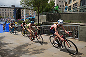 June 11th 2017, Leeds, Yorkshire, England; ITU World Triathlon Leeds 2017; Non Stanford is chased by Gillian Backhouse