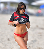 MIAMI, FL - MARCH 12:. Claudia Romani seen wearing a  Fly Emirates, Real Madrid Football Club jersey in Miami Florida on March 12, 2018.  <br /> CAP/MPI122<br /> &copy;MPI122/Capital Pictures