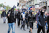Black Bloc and anti-fascists gather to protest against a march held by the English Defence League. Walthamstow London May 2015