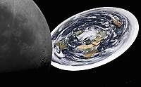 Digitally manipulated image of moon and flat earth from space