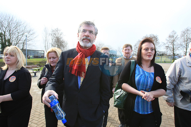 Gerry Adams (SF) arriving.at the Louth election count in the DKIT in Dundalk Co Louth..Picture: Fran Caffrey / www.newsfile.ie.