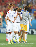 (L-R) Ki Sung-Yueng, Kim Young-Gwon, Lee Bum-Young (KOR),<br /> JUNE 26, 2014 - Football / Soccer :<br /> Ki Sung-Yueng, Kim Young-Gwon and Lee Bum-Young of South Korea look dejected after the FIFA World Cup Brazil 2014 Group H match between South Korea 0-1 Belgium at Arena de Sao Paulo in Sao Paulo, Brazil. (Photo by SONG Seak-In/AFLO)