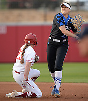 NWA Democrat-Gazette/ANDY SHUPE<br /> Arkansas left fielder Hannah McEwen is forced out at second as Kentucky second baseman Alex Martens makes the late relay to first Friday, March 29, 2019, during the first inning at Bogle Park in Fayetteville. Visit nwadg.com/photos to see more photographs from the game.