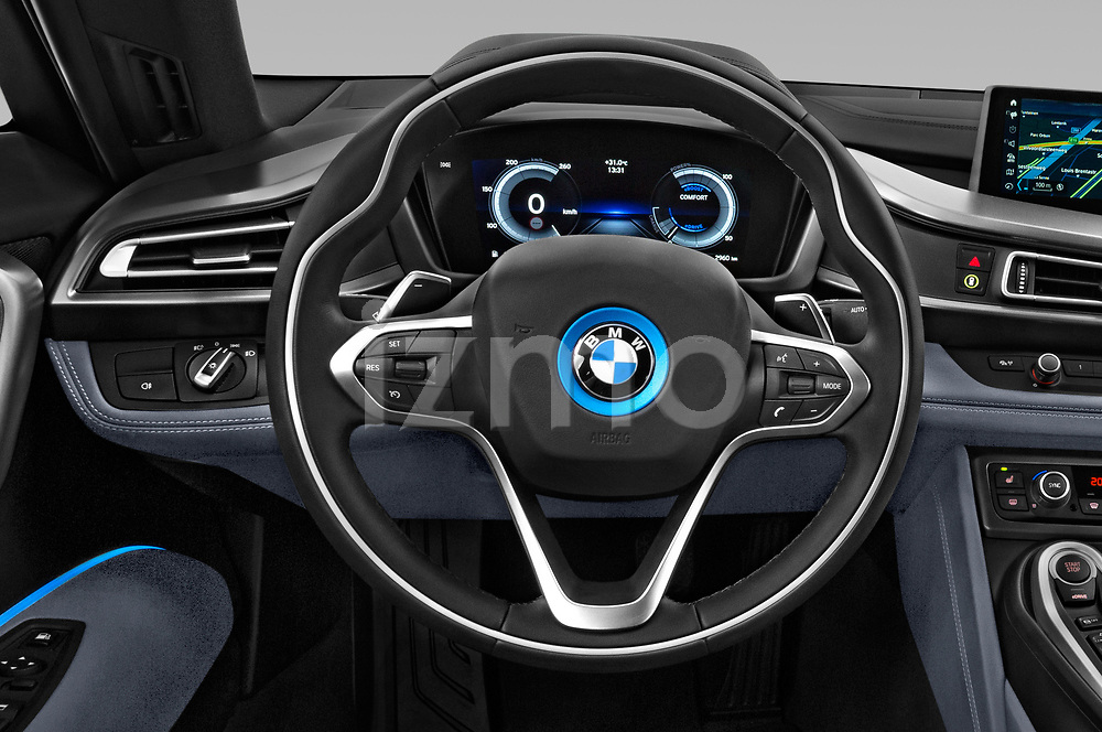 Car pictures of steering wheel view of a 2019 BMW i8 Base 2 Door Coupe