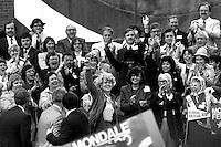 Geraldine Ferraro campaigning as Vice Presidential nominee in Boston MA September 26, 1984