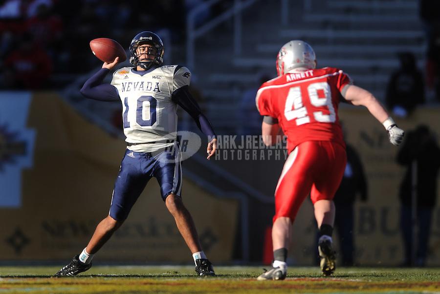 Dec 22, 2007; Albuquerque, NM, USA; Nevada Wolf Pack quarterback Colin Kaepernick (10) against the New Mexico Lobos in the New Mexico Bowl at University Stadium. Mandatory Credit: Mark J. Rebilas-US PRESSWIRE