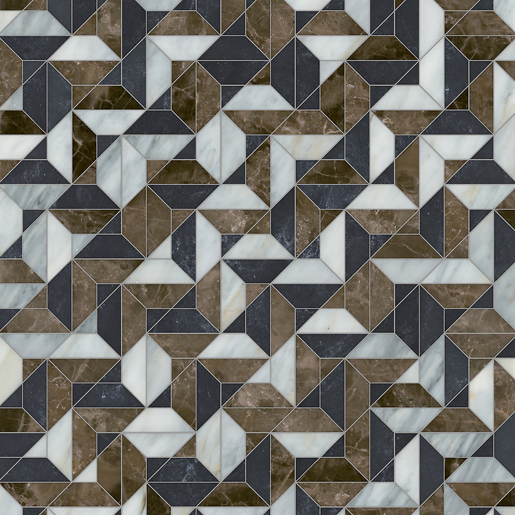 Zachary, a hand-cut stone mosaic, shown in polished Kehena, Cirrus, and honed Orpheus Black, is part of the Semplice® collection for New Ravenna.
