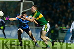 Kevin McCarthy Kerry in action against David Byrne Dublin in the National League in Austin Stack park on Saturday night.
