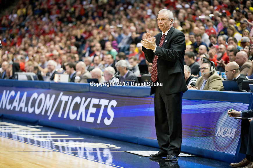 Wisconsin Badgers Head Coach Bo Ryan looks on during the third-round game in the NCAA college basketball tournament against the Oregon Ducks Saturday, April 22, 2014 in Milwaukee. The Badgers won 85-77. (Photo by David Stluka)