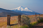 Siskiyou County, CA<br /> Morning light on the foothills of Little Shasta Valley with Mount Shasta in the distance