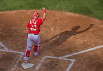 28 September 2014: Washington Nationals catcher Wilson Ramos pumps his fist after the last out against the Miami Marlins at Nationals Park in Washington, DC. The Nationals shut out the Marlins 1-0, caping the season with the first Nationals no-hitter in modern times. The win also notched a 96 win season for the Nats: the best record in the National League. Mandatory Credit: Ed Wolfstein Photo *** RAW (NEF) Image File Available ***
