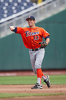 Cal State Fullerton shortstop Timmy Richards (13) makes a throw to first base during the NCAA College baseball World Series against the Vanderbilt Commodores Titans on June 15, 2015 at TD Ameritrade Park in Omaha, Nebraska. Vanderbilt beat Cal State Fullerton 4-3. (Andrew Woolley/Four Seam Images)