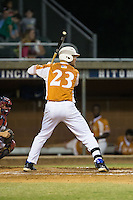 Justin Bellinger (23) of the Asheboro Copperheads at bat against the High Point-Thomasville HiToms at Finch Field on June 12, 2015 in Thomasville, North Carolina.  The HiToms defeated the Copperheads 12-3. (Brian Westerholt/Four Seam Images)