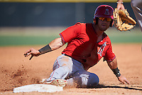 Los Angeles Angels of Anaheim Keith Grieshaber (21) slides into third base during an Instructional League game against the Colorado Rockies on October 6, 2016 at the Tempe Diablo Stadium Complex in Tempe, Arizona.  (Mike Janes/Four Seam Images)