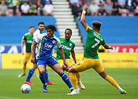 Wigan Athletic's Reece James gets away from Preston North End's Daniel Johnson & Callum Robinson<br /> <br /> Photographer David Shipman/CameraSport<br /> <br /> The EFL Sky Bet Championship - Wigan Athletic v Preston North End - Monday 22nd April 2019 - DW Stadium - Wigan<br /> <br /> World Copyright © 2019 CameraSport. All rights reserved. 43 Linden Ave. Countesthorpe. Leicester. England. LE8 5PG - Tel: +44 (0) 116 277 4147 - admin@camerasport.com - www.camerasport.com