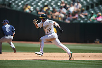 OAKLAND, CA - JUNE 22:  Ramon Laureano #22 of the Oakland Athletics runs the bases against the Tampa Bay Rays during the game at the Oakland Coliseum on Saturday, June 22, 2019 in Oakland, California. (Photo by Brad Mangin)