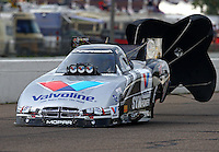 Aug 16, 2014; Brainerd, MN, USA; NHRA funny car driver Jack Beckman during qualifying for the Lucas Oil Nationals at Brainerd International Raceway. Mandatory Credit: Mark J. Rebilas-