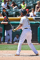 Ryan Jackson (5) of the Salt Lake Bees at bat against the Fresno Grizzlies in Pacific Coast League action at Smith's Ballpark on June 14, 2015 in Salt Lake City, Utah.  (Stephen Smith/Four Seam Images)