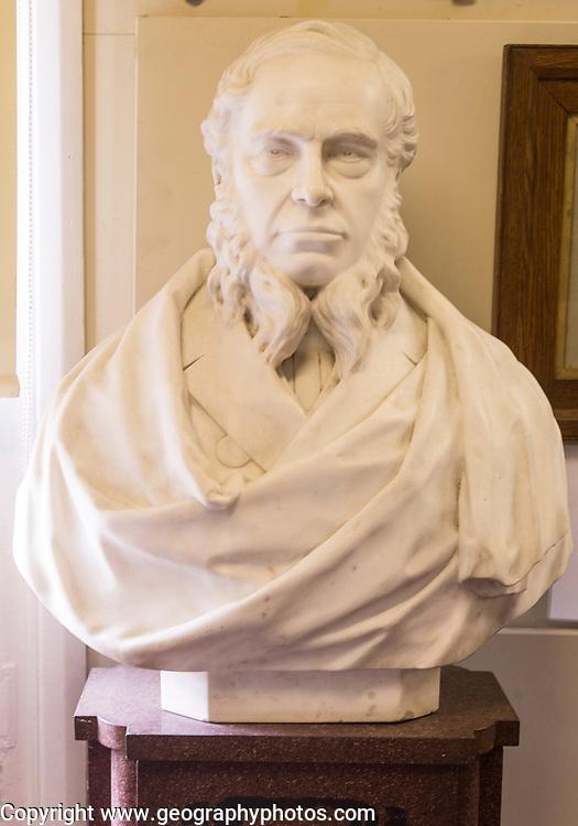 The Long Shop museum, Leiston, Suffolk, England, UK bust of Richard Garrett the third 1807-1866