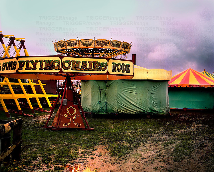 A small circus with covers on stalls