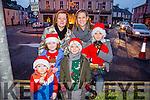 At the Castleisland Christmas lights Event on Friday were l-r  Elizabeth Hickey, Niamh Burke, Lorcan Hickey, Muireann Hickey, James Burke, Ayrton Burke and Pixel the dog