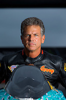 Aug 31, 2014; Clermont, IN, USA; NHRA pro stock motorcycle rider Jerry Savoie during qualifying for the US Nationals at Lucas Oil Raceway. Mandatory Credit: Mark J. Rebilas-USA TODAY Sports