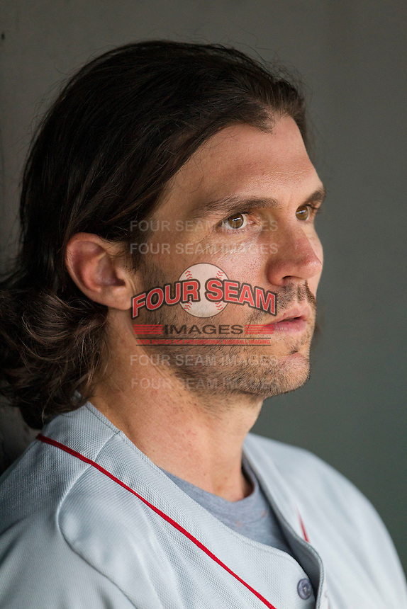 Nashville Sounds pitcher Barry Zito (34) in the dugout during the Pacific Coast League baseball game against the Oklahoma City Dodgers on June 12, 2015 at Chickasaw Bricktown Ballpark in Oklahoma City, Oklahoma. The Dodgers defeated the Sounds 11-7. (Andrew Woolley/Four Seam Images)