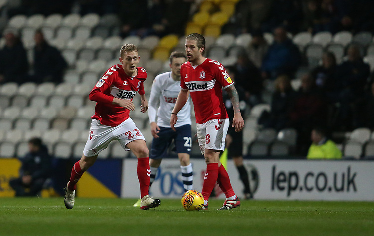 Middlesbrough's George Saville<br /> <br /> Photographer Stephen White/CameraSport<br /> <br /> The EFL Sky Bet Championship - Preston North End v Middlesbrough - Tuesday 27th November 2018 - Deepdale Stadium - Preston<br /> <br /> World Copyright © 2018 CameraSport. All rights reserved. 43 Linden Ave. Countesthorpe. Leicester. England. LE8 5PG - Tel: +44 (0) 116 277 4147 - admin@camerasport.com - www.camerasport.com