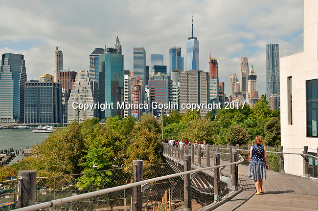 Squibb Park and Bridge with a view of the Manhattan downtown skyline