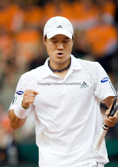 19-9-08, Netherlands, Apeldoorn, Tennis, Daviscup NL-Zuid Korea, First rubber     HyungTaik Lee in jubilation, he wins the first match