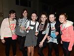 Helen Murphy, Rachel Woods, Amy Mullen, Shauna Matthews, Alanah Quaile and Kelsey James pictured at the Collon children's Christmas Disco. Photo:Colin Bell/pressphotos.ie