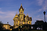 Carson Mansion built in 1885 Victorian Mansion sunset with moonrise Eureka California USA