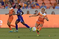 Rachel Daly (3) of the Houston Dash passes the ball against the Orlando Pride on Friday, May 20, 2016 at BBVA Compass Stadium in Houston Texas. The Orlando Pride defeated the Houston Dash 1-0.
