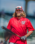 15 March 2016: Washington Nationals outfielder Jayson Werth awaits his turn in the batting cage prior to a Spring Training pre-season game against the Houston Astros at Osceola County Stadium in Kissimmee, Florida. The Nationals defeated the Astros 6-4 in Grapefruit League play. Mandatory Credit: Ed Wolfstein Photo *** RAW (NEF) Image File Available ***