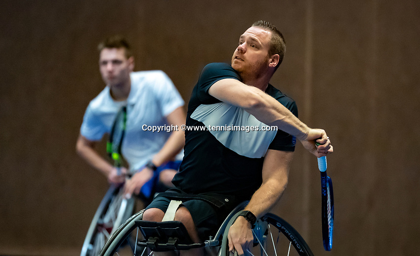 Alphen aan den Rijn, Netherlands, December 14, 2018, Tennispark Nieuwe Sloot, Ned. Loterij NK Tennis,  Wheelchair men's doubles : Maikel Scheffers foreground and  Ruben Spaargaren (NED)<br /> Photo: Tennisimages/Henk Koster