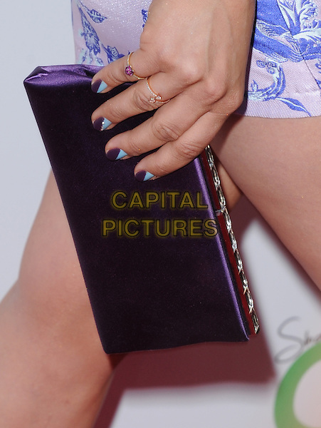 Kaley Cuoco's bag<br /> 'Blue Jasmine'  L.A. premiere at The Academy of Motion Pictures Arts and Sciences in Beverly Hills, California, USA.<br /> 24th July 2013 <br /> detail clutch blue purple nail varnish polish <br /> CAP/DVS<br /> &copy;DVS/Capital Pictures