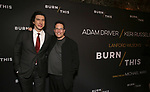 """Adam Driver and Michael Mayer attends the Broadway Opening Celebration for Landford Wilson's """"Burn This""""  at Hudson Theatre on April 15, 2019 in New York City."""