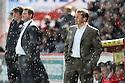 Stevenage manager Graham Westley looks on during a hail storm. Stevenage v MK Dons - npower League 1 -  Lamex Stadium, Stevenage - 27th April, 2013. © Kevin Coleman 2013. ..